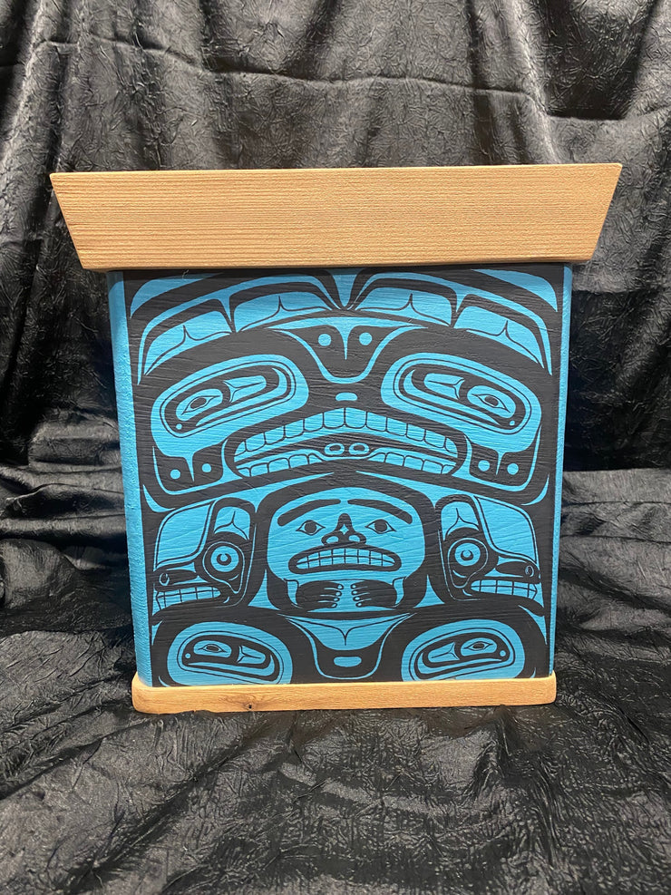 Blue Bentwood Box - Raven, Killer Whale by Ken Decker