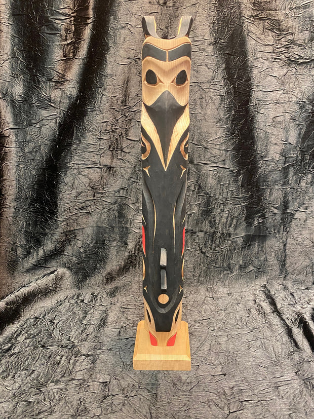 Raven Double Fin Killer Whale Totem Pole by Norman Natkong Jr.