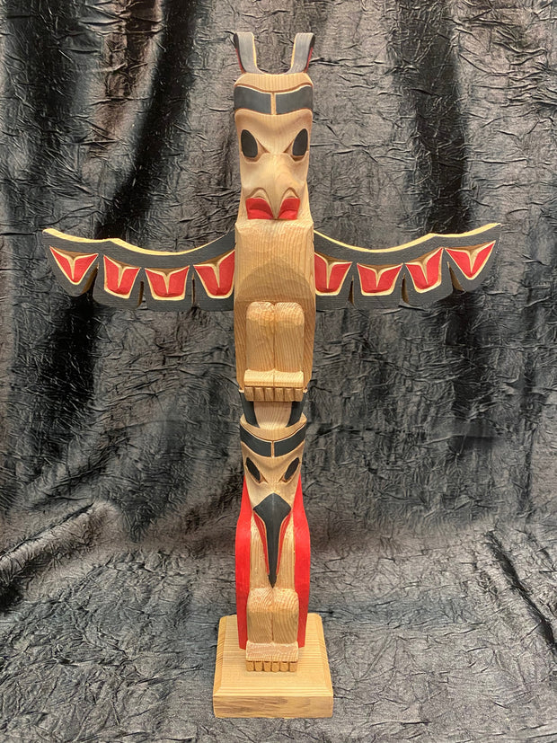 Lovebirds with Wings Totem Pole by Norman Natkong Jr.