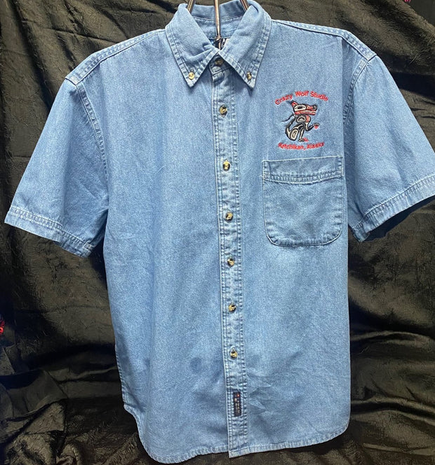 Short Sleeve Denim Button Up Shirt