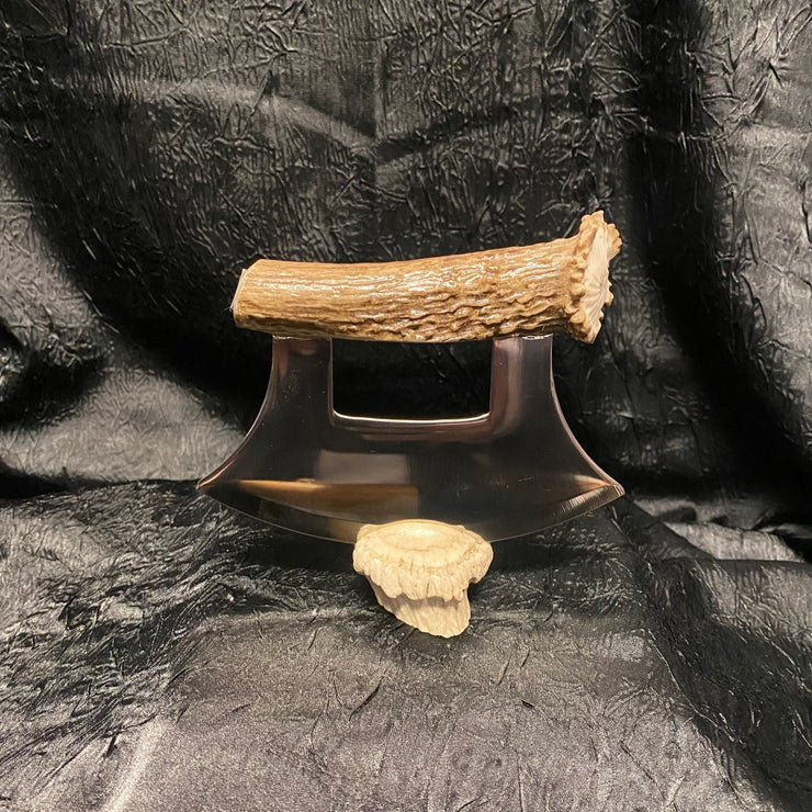 Deer Antler Ulu - with crown on handle & base