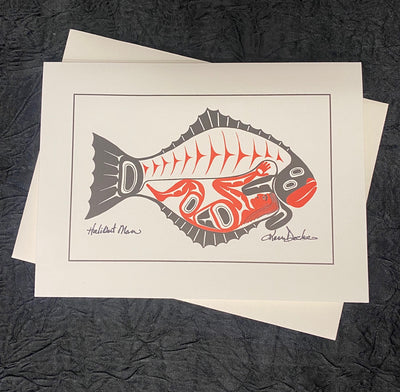 Halibut Man Art Card
