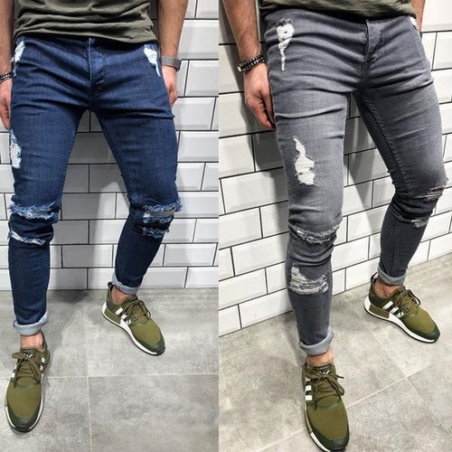 Trendy Knee Hole Zippered Small Hole Denim Trousers