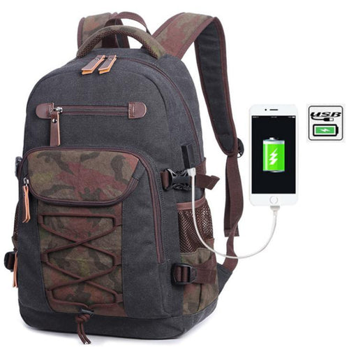 Washed canvas bag USB print backpack