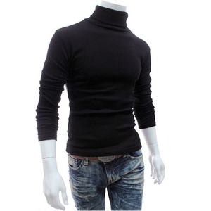Men's Plain Casual High Neck Sweater
