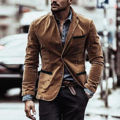 Corduroy Color Matching Leisure Coat Jacket