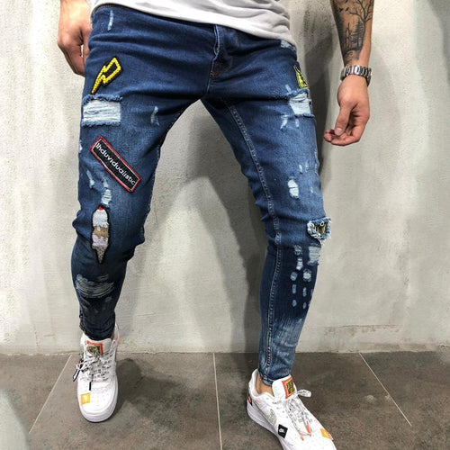 Hip Hop Hole Men's Badge Slim Jeans