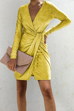 Load image into Gallery viewer, Deep V Neck  Plain  Long Sleeve Bodycon Dresses