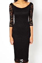 Load image into Gallery viewer, Round Neck Lace Sheath Three Quarter Sleeve Bodycon Dresses