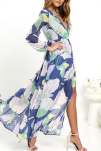 Load image into Gallery viewer, Chiffon Surplice Side Slit Floral Long Sleeve Maxi Dresses
