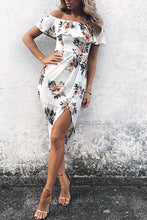 Load image into Gallery viewer, Open Shoulder Asymmetric Hem Floral Bodycon Dresses