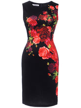 Load image into Gallery viewer, Vintage Floral Printed Round Neck Bodycon Dress