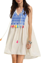 Load image into Gallery viewer, V Neck  Fringe  Patchwork Printed Casual Dresses