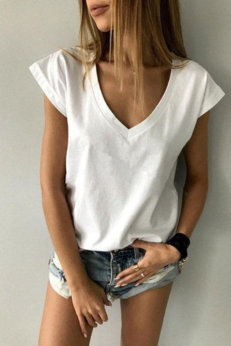 V Neck  Loose Fitting  Plain T-Shirts