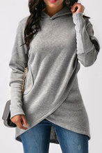 Load image into Gallery viewer, Hooded  Asymmetric Hem Patchwork  Plain Hoodies
