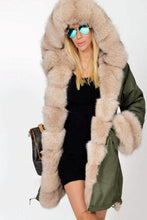 Load image into Gallery viewer, Faux Fur Collar  Patch Pocket  Plain Outerwear