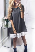 Load image into Gallery viewer, Round Neck  Flounce  Patchwork Casual Dresses