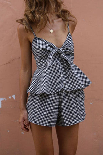 Bowknot  Houndstooth Bowknot Playsuits