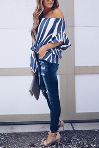 Stylish Off Shoulder Vertical Striped T-Shirts