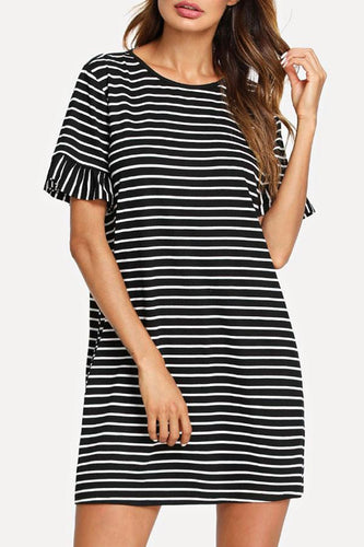 Round Neck  Striped  Bell Sleeve  Short Sleeve Casual Dress