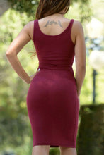 Load image into Gallery viewer, Round Neck  Belt  Plain  Sleeveless Bodycon Dresses