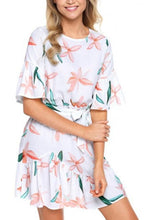 Load image into Gallery viewer, Round Neck  Belt  Printed  Bell Sleeve  Half Sleeve Casual Dresses