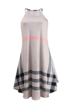 Load image into Gallery viewer, Round Neck  Asymmetric Hem  Gingham  Sleeveless Skater Dresses