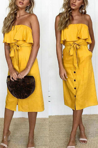 Strapless  Flounce Single Breasted  Belt  Plain  Sleeveless Maxi Dresses