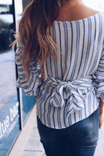 Load image into Gallery viewer, Surplice  Striped  Lantern Sleeve  Blouses