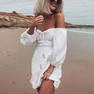 Sexy Off Shoulder Long Sleeves Mini Dress