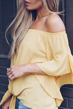 Load image into Gallery viewer, Off Shoulder  Bow  Plain Ruffle Sleeve Blouses