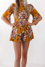 Load image into Gallery viewer, Round Neck  Backless  Floral  Bell Sleeve  Half Sleeve  Playsuits