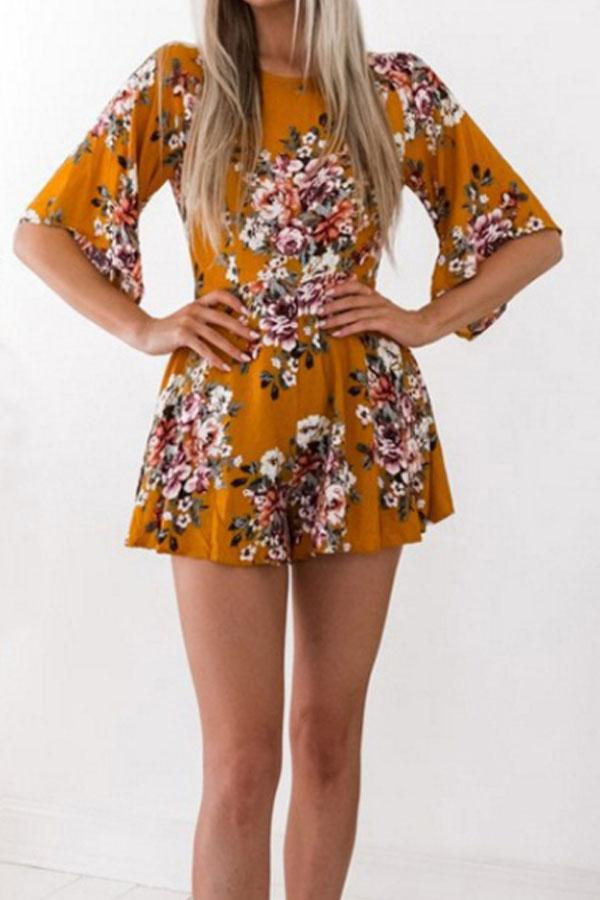 Round Neck  Backless  Floral  Bell Sleeve  Half Sleeve  Playsuits