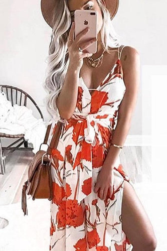 Spaghetti Strap  High Slit  Floral Printed  Sleeveless Maxi Dresses