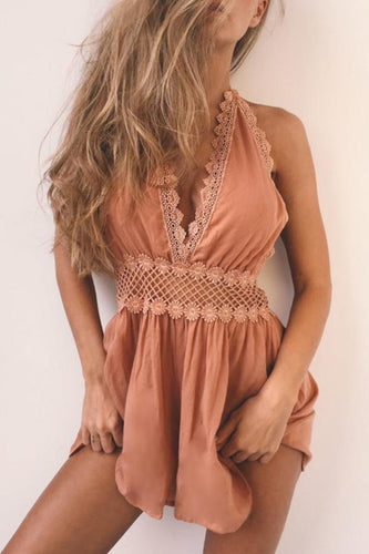Deep V Neck  Plain  Sleeveless  Playsuits