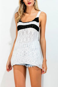 Spaghetti Strap  Back Hole  Stripes Camis