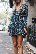Load image into Gallery viewer, Deep V Neck  Asymmetric Hem  Belt  Floral Printed  Bell Sleeve  Long Sleeve Casual Dresses