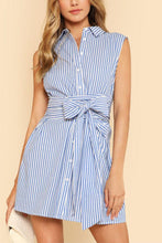 Load image into Gallery viewer, Turn Down Collar  Single Breasted  Belt  Striped  Sleeveless Casual Dresses