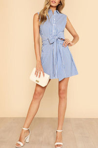 Turn Down Collar  Single Breasted  Belt  Striped  Sleeveless Casual Dresses