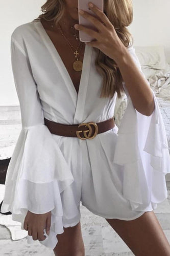 Deep V Neck  Asymmetric Hem  Belt  Plain  Bell Sleeve  Long Sleeve  Playsuits
