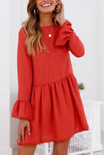 Load image into Gallery viewer, Round Neck  Cross Straps  Plain  Bell Sleeve  Long Sleeve Casual Dresses