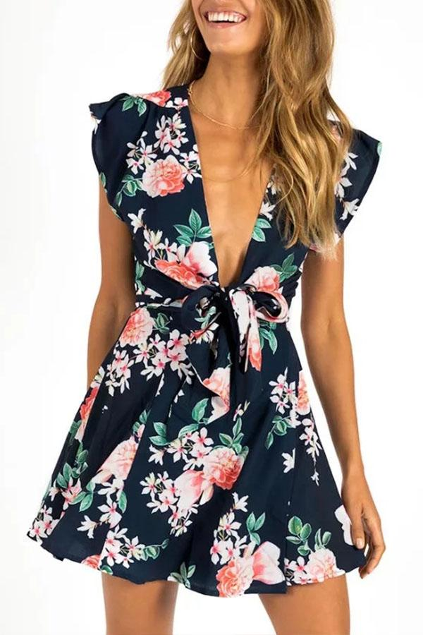 470ab461110 ... Load image into Gallery viewer, Deep V Neck Floral Printed Extra Short  Sleeve Skater Dresses ...