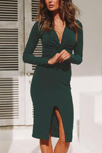 Load image into Gallery viewer, Deep V Neck  Slit  Plain  Long Sleeve Bodycon Dresses