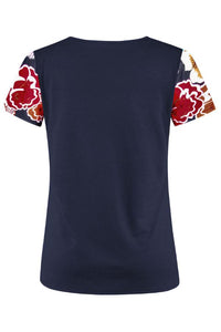 Round Neck  Floral Printed T-Shirts