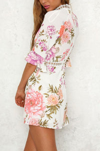 High Neck  Floral Printed  Bell Sleeve  Half Sleeve Casual Dresses