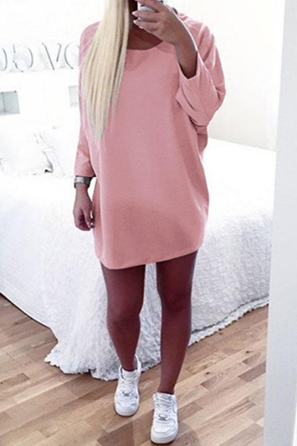 Round Neck  Asymmetric Hem  Plain  Batwing Sleeve  Long Sleeve Casual Dresses