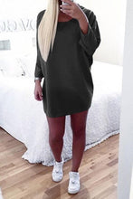Load image into Gallery viewer, Round Neck  Asymmetric Hem  Plain  Batwing Sleeve  Long Sleeve Casual Dresses
