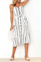 Load image into Gallery viewer, Spaghetti Strap  Single Breasted  Printed  Sleeveless Maxi Dresses