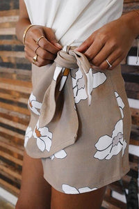 Fitted  Basic  Belt   Printed  Skirts