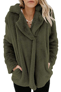 Fold Over Collar  Plain Teddy Outerwear